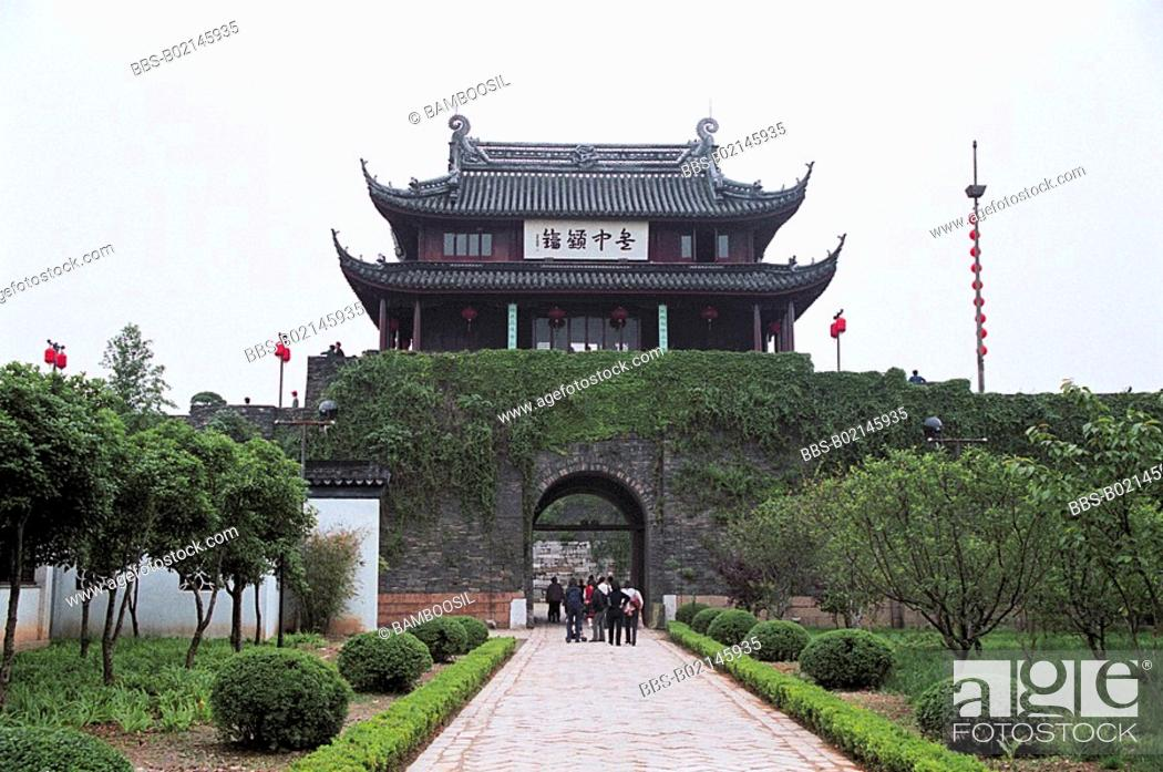 Stock Photo: Tourists entering a shrine, Panmen in Suzhou City, Jiangsu Province of People's Republic of China.
