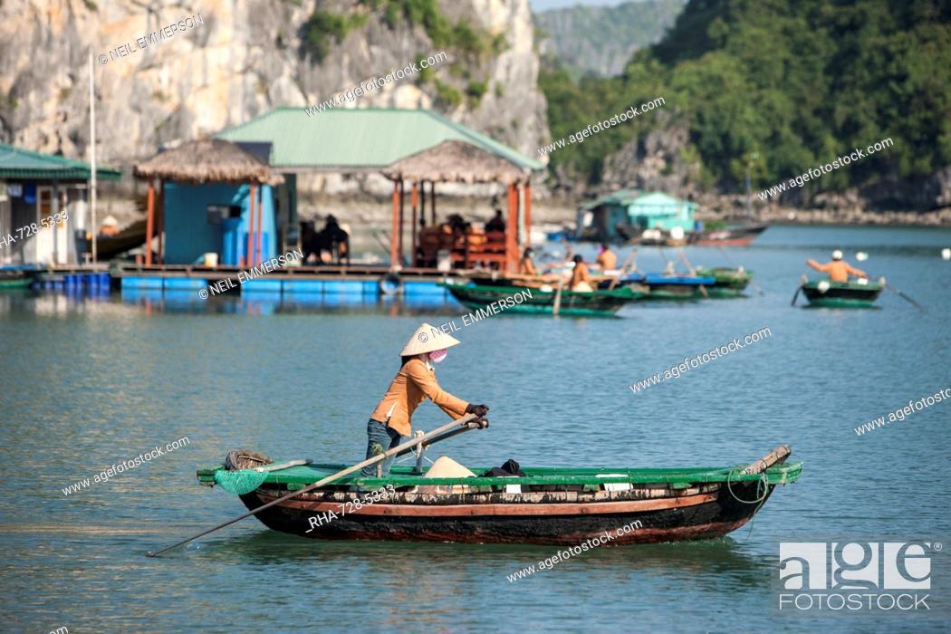 Stock Photo: Floating village, Halong Bay, UNESCO World Heritage Site, Vietnam, Indochina, Southeast Asia, Asia.