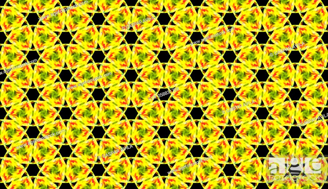 Stock Vector: Yellow links tiled pattern. Geometric quilt pattern.