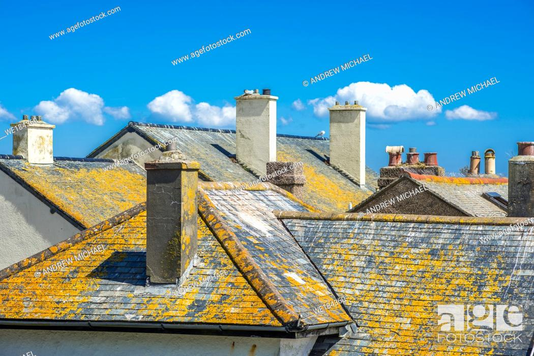 Stock Photo: Rooftops in Penzance in Cornwall, England, UK.