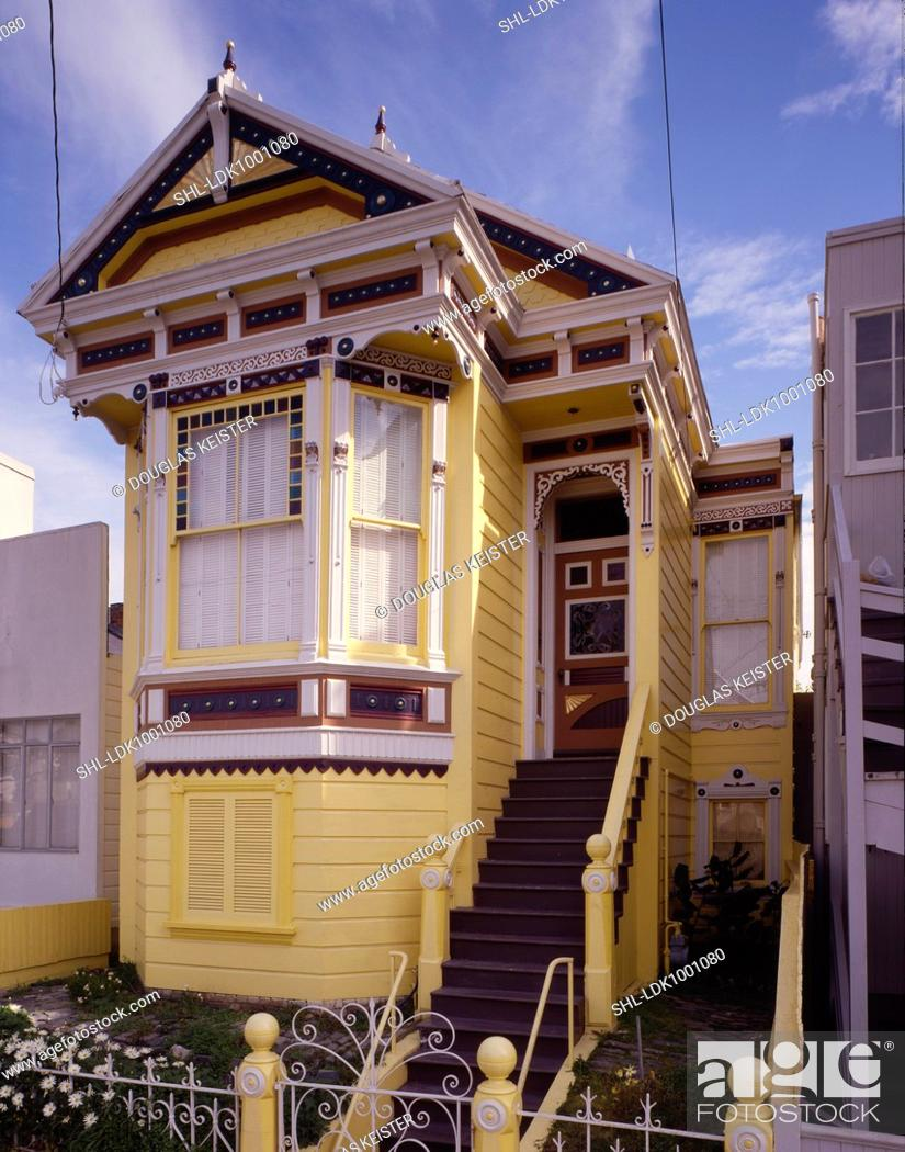 Front Exterior Victorian Style Yellow Home With White Trim Stock Photo Picture And Rights Managed Image Pic Shl Ldk1001080 Agefotostock