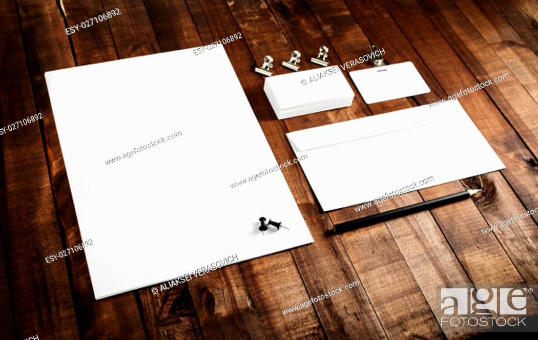 Stock Photo: Photo of blank stationery set. Template for branding identity. Mock-up for branding identity for designers. Top view.