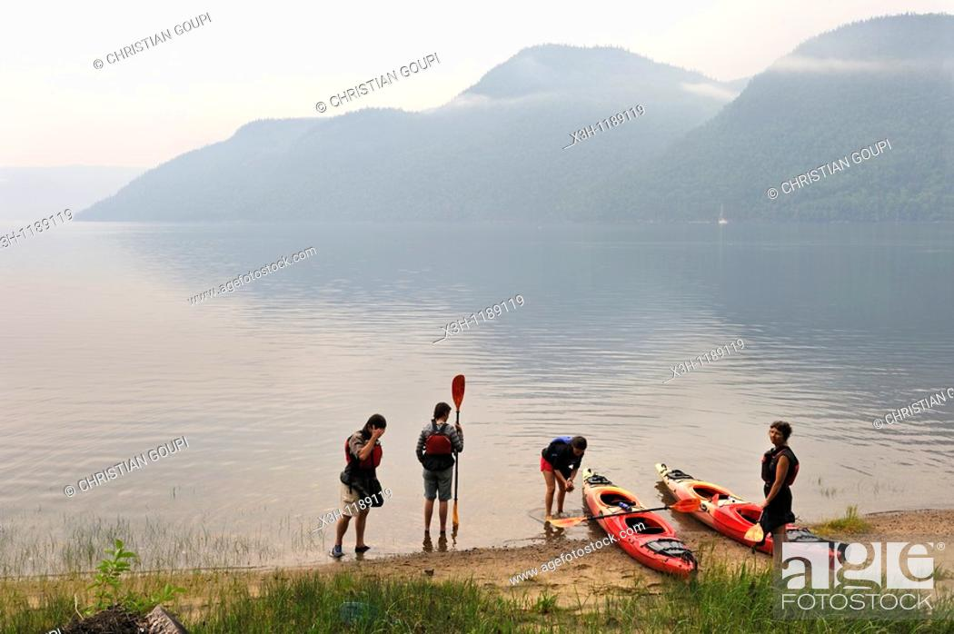 Stock Photo: kayak in Baie-Eternite, Saguenay National Park, Riviere-eternite district, Province of Quebec, Canada, North America.