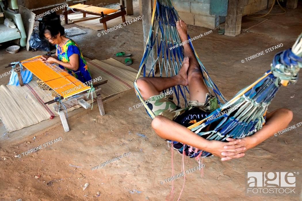 Stock Photo: Thailand, Northeastern Thailand, Isan region, Chonnabot district, loom for the mat mii dyeing the threads of silk before weaving women weave in their homes'.