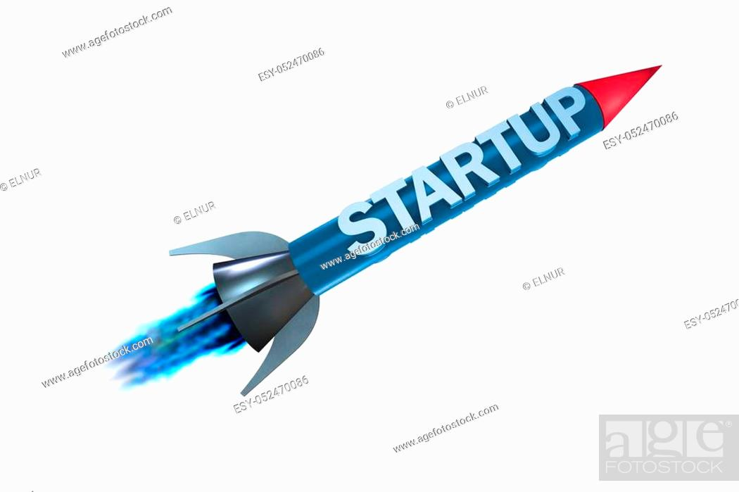 Stock Photo: Rocket in business start-up concept - 3d rendering.