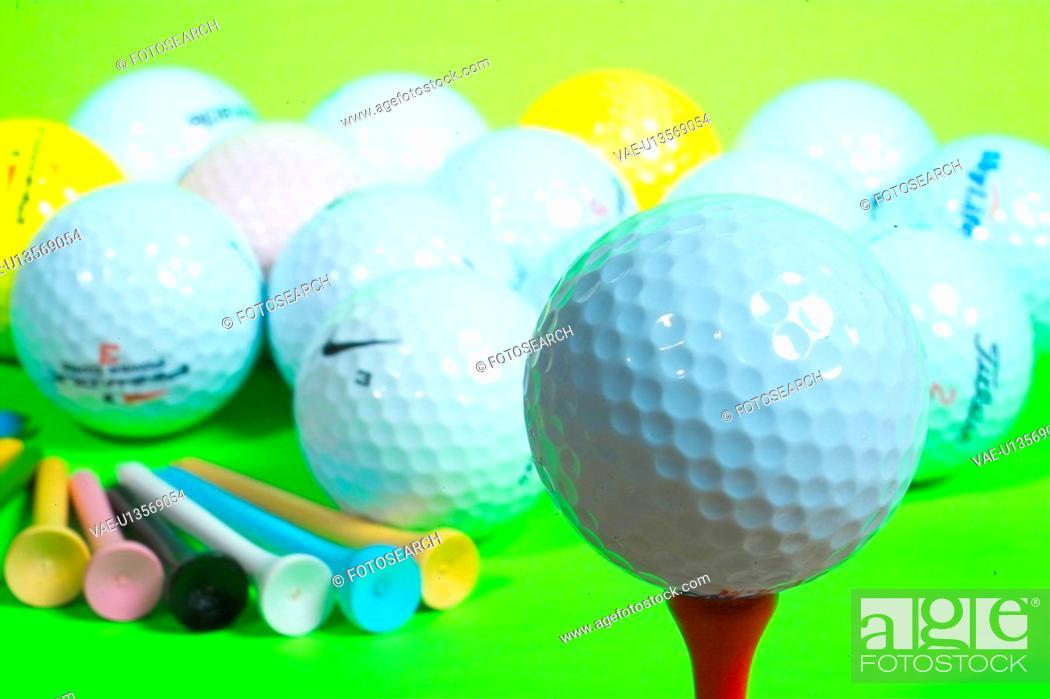 Stock Photo: sports equipment, leisure, ball, golfball, golf, sports.