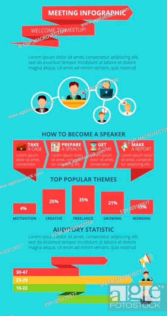 Stock Vector: Meeting infographics set.