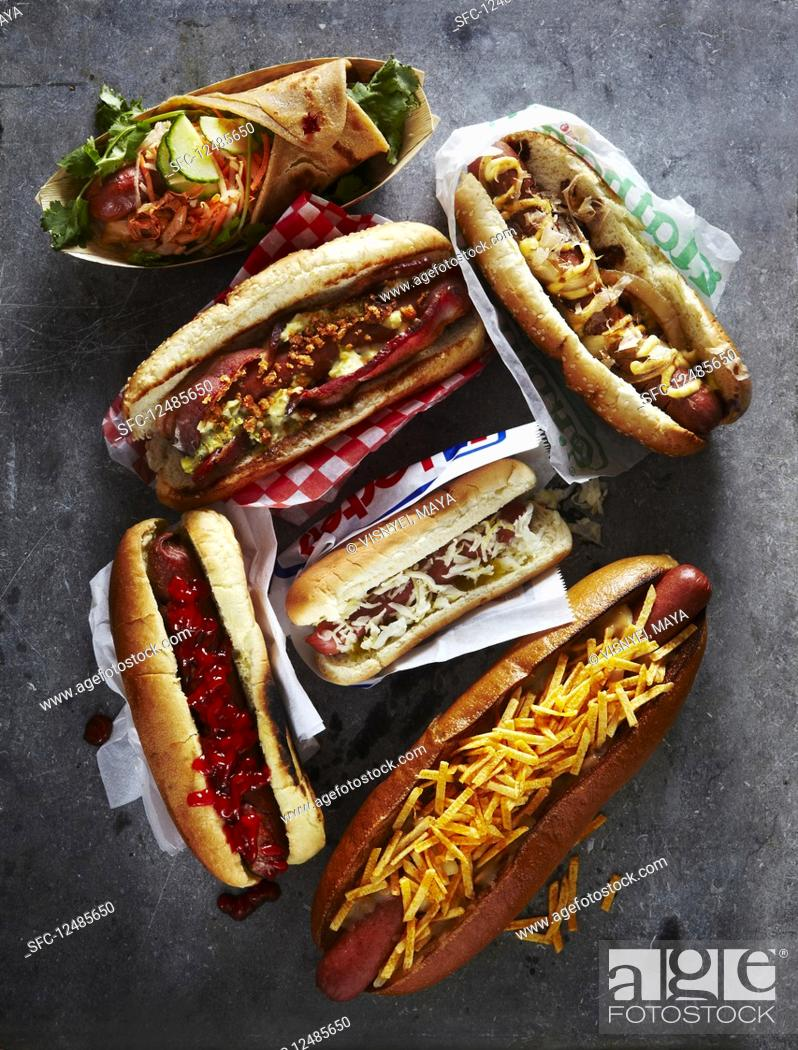 Stock Photo: Six varieties of Hot Dogs.