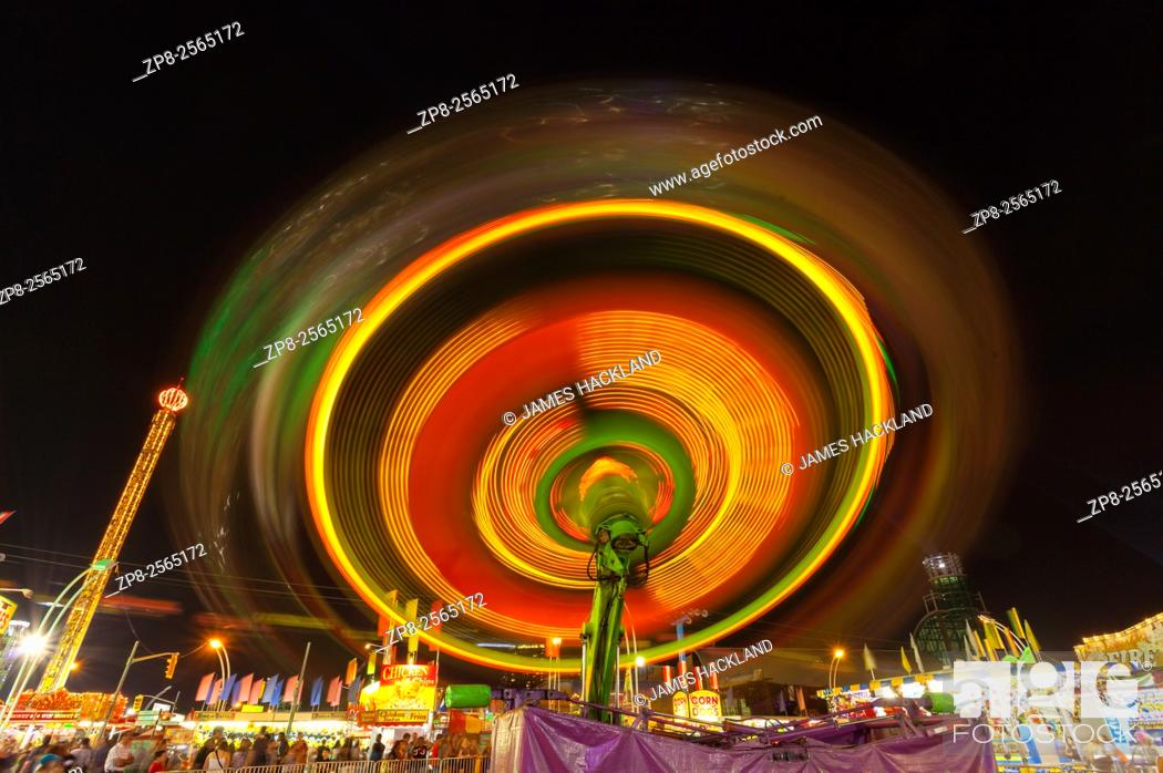 Stock Photo: The Cliffhanger ride at the Canadian National Exhibition (CNE). Toronto, Ontario, Canada.
