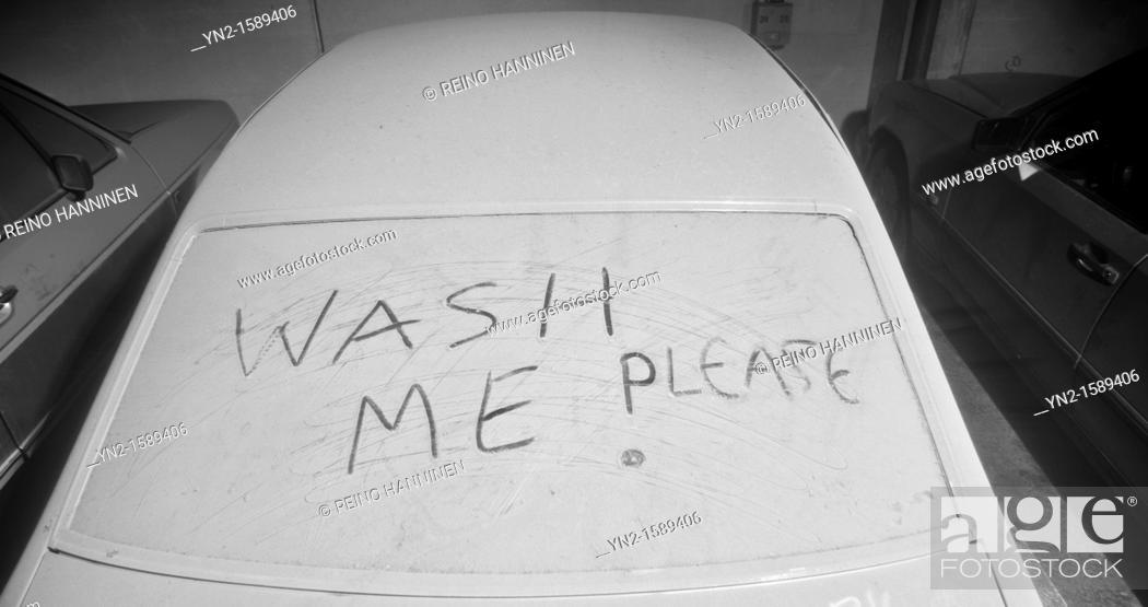 Stock Photo: Dirty car needing/asking help for washing, LocationOulu, Finland, Scandinavia, Europe.