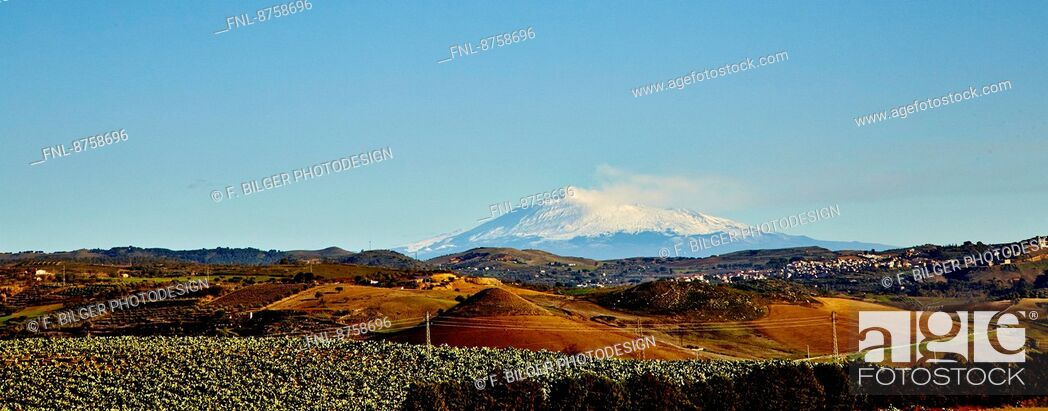 Stock Photo: Landscape with Mount Etna, Sicily, Italy.