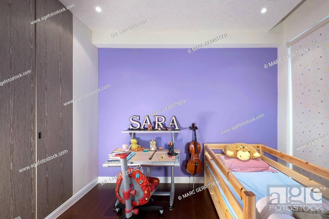 Stock Photo Purple S Bedroom With Hardwood Floor