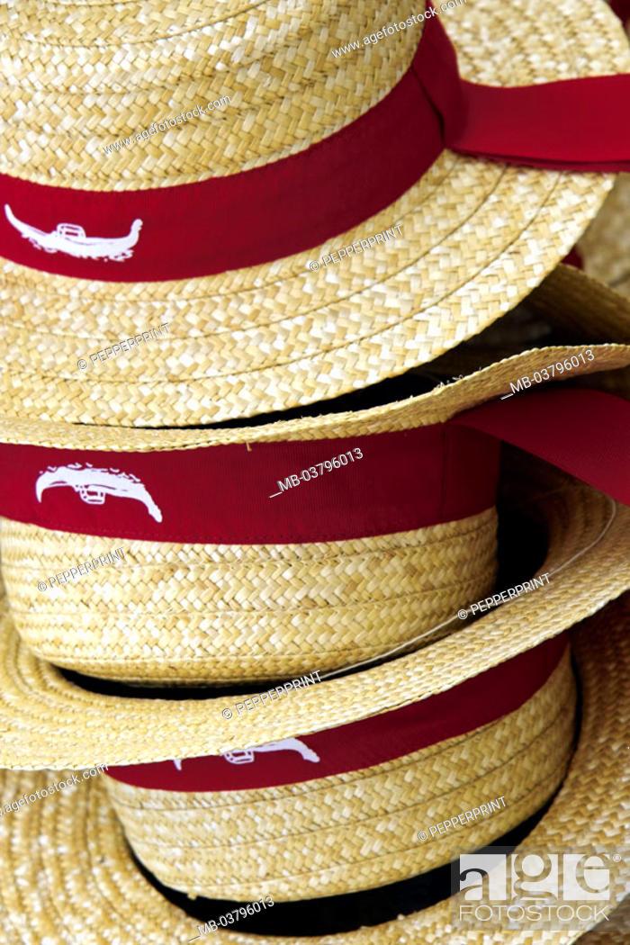 b1de19ae158f5d Stock Photo - Italy, Venice, souvenir sale, Straw hats, detail, Venetien,  lagoon city, sale, souvenirs, hats, sunhats, hat ribbons red, ...