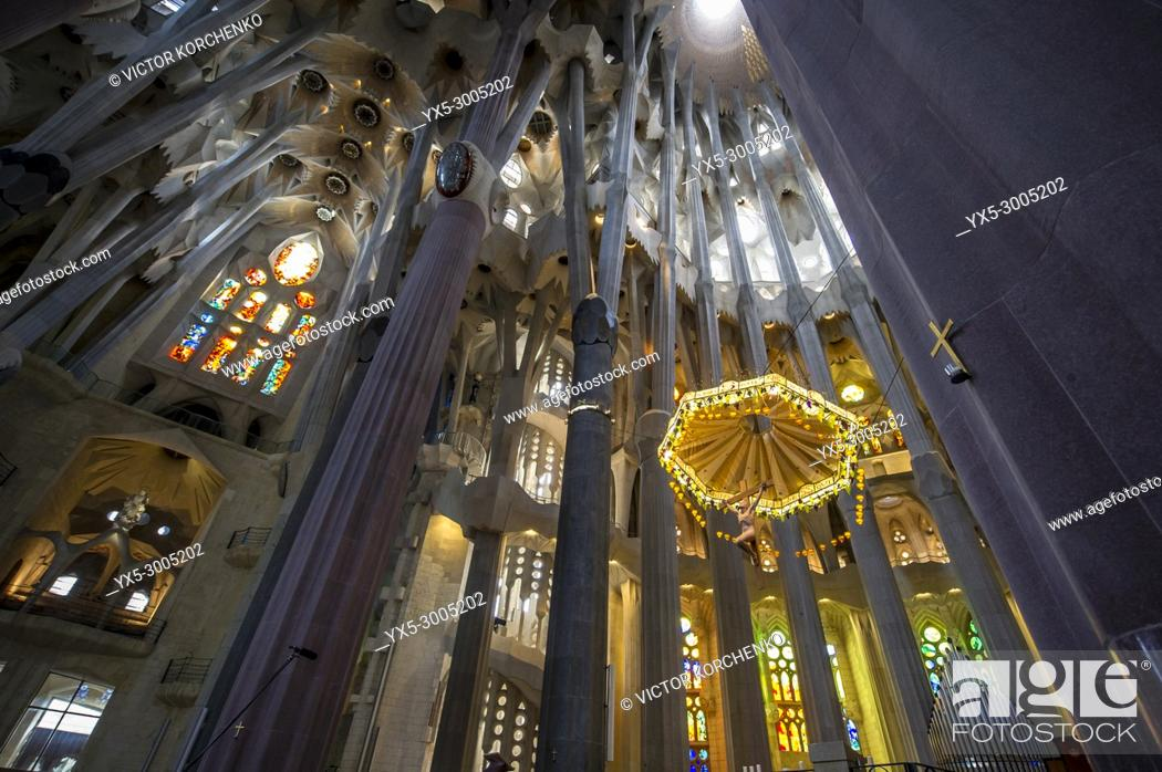 Stock Photo: Sagrada Familia Cathedral interior. Barcelona, Catalonia, Spain.
