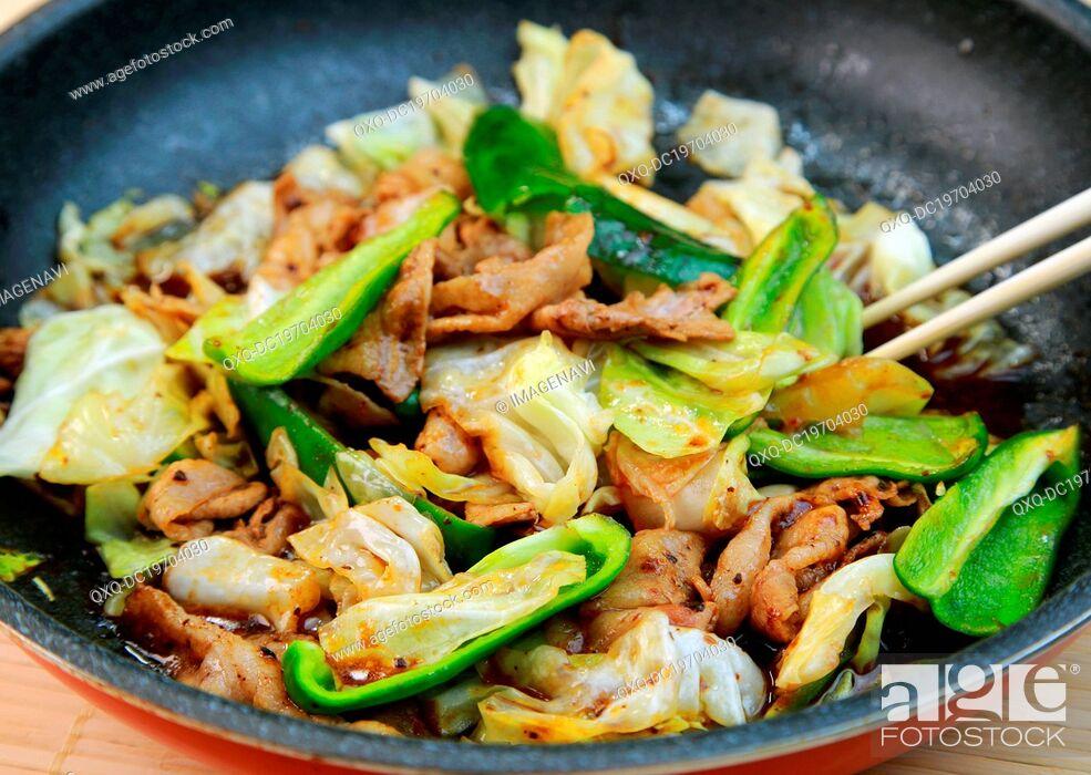 Stock Photo: Chinese stir-fried pork.
