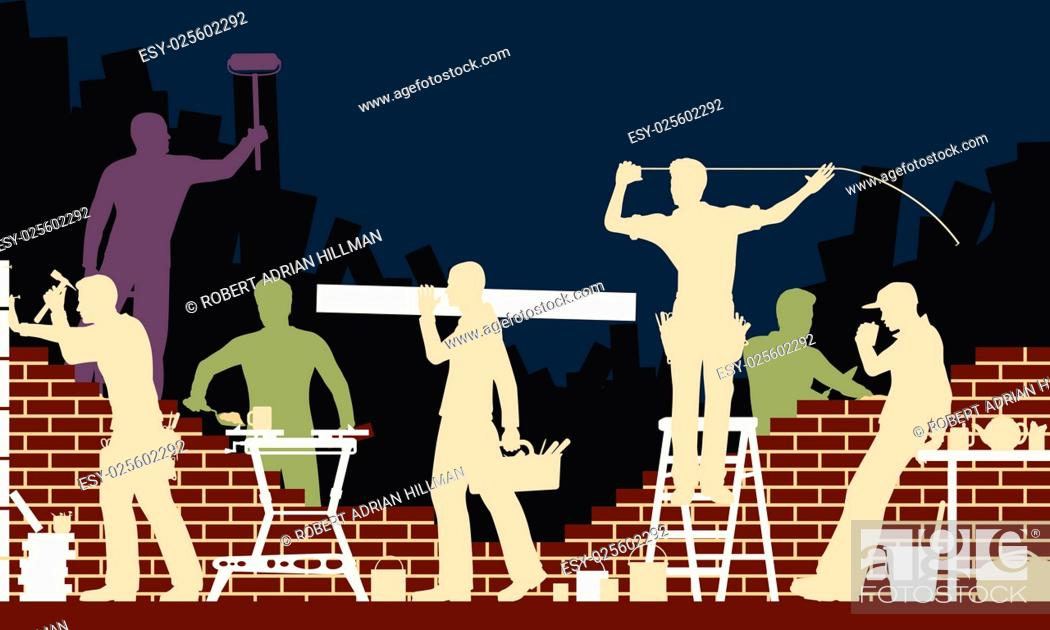 Stock Vector: Editable vector colorful illustration of builders and bricklayers.