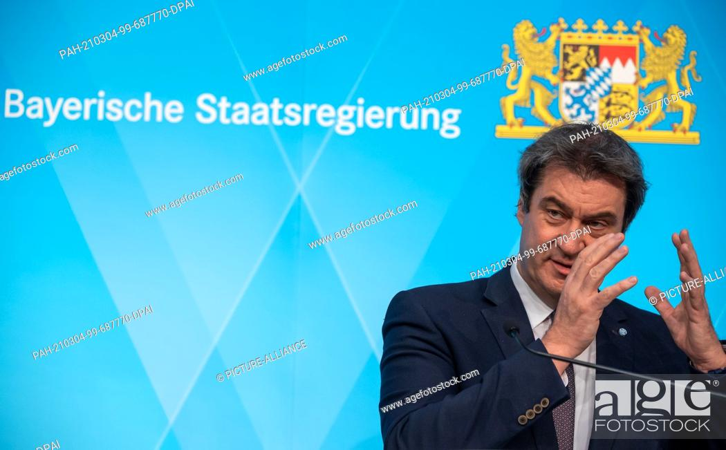 Imagen: 04 March 2021, Bavaria, Munich: Markus Söder (CSU), Prime Minister of Bavaria, attends a press conference after the meeting of the Bavarian cabinet.