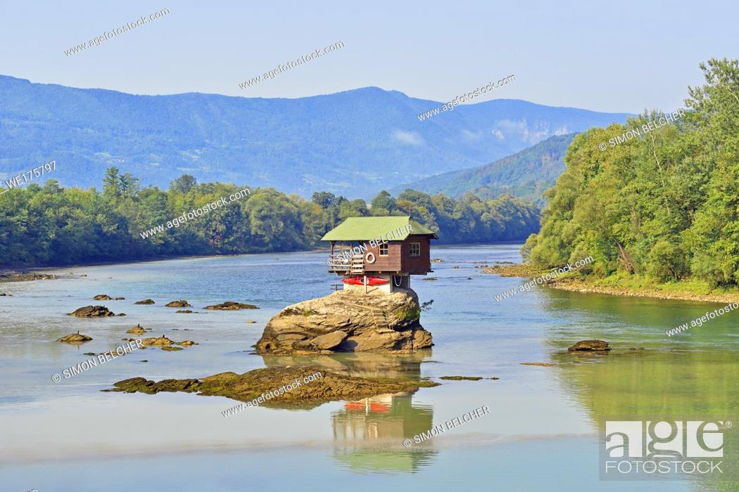 Stock Photo: House on the River Drina, Bajina Basta, Serbia.