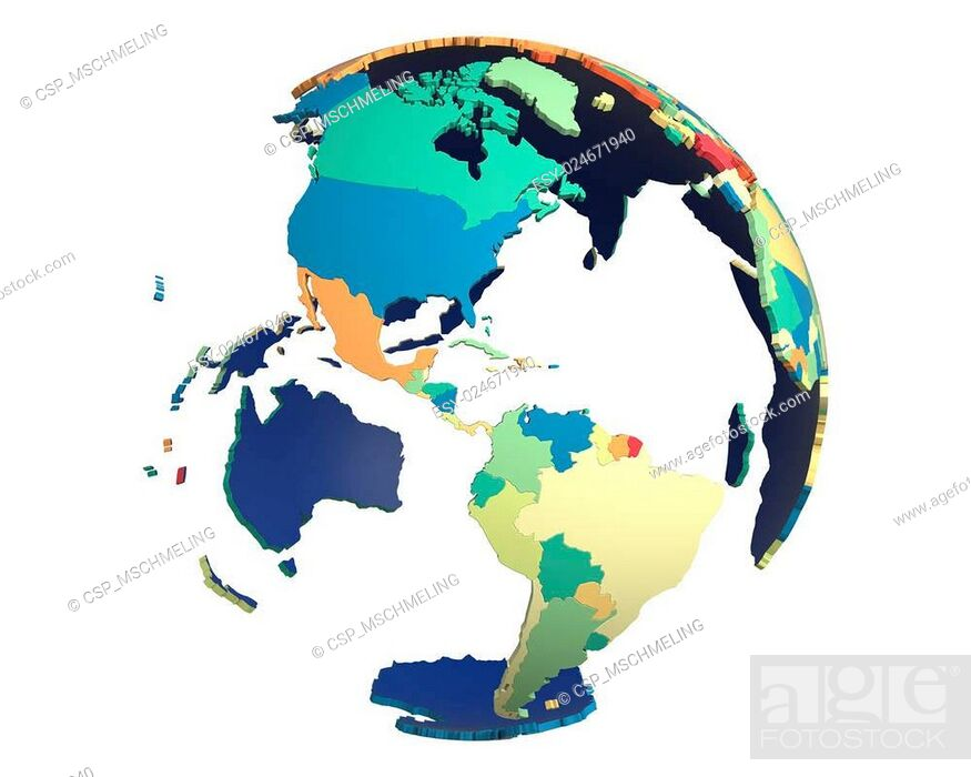 Stock Photo: Political Globe, centered on the Americas.