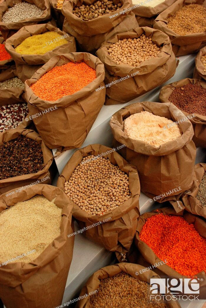 Stock Photo: Bags with Asian spices.