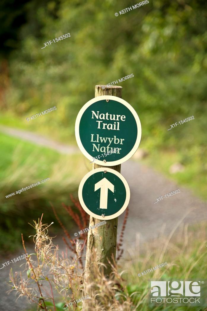 Stock Photo: Bilingual welsh english nature trail sign Bluestone National Park resort holiday vacation centre, pembrokeshire west wales uk.