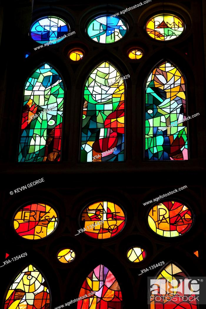 Stock Photo: Stained Glass Windows in the Sagrada Familia Church designed by Gaudi in Barcelona, Catalonia, Spain.
