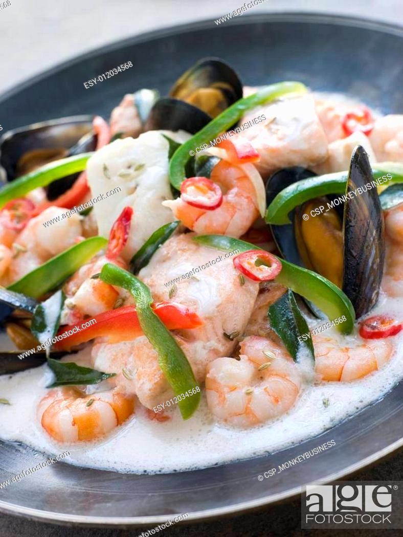 Stock Photo: Malaya fish Curry with Coconut.