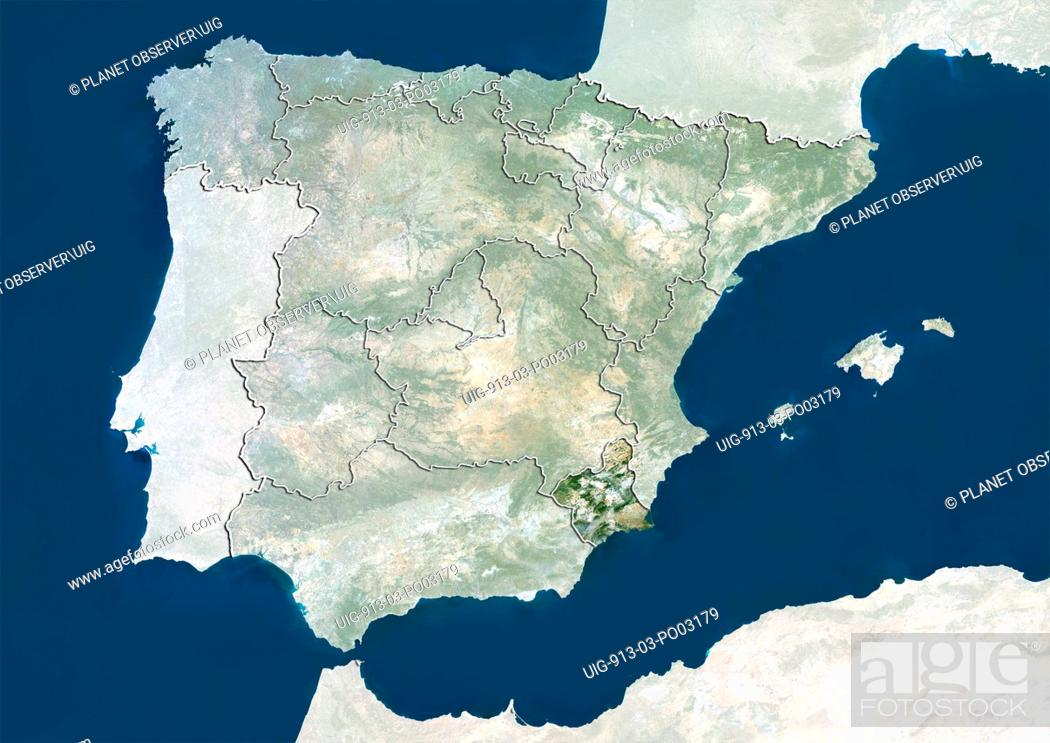 Stock Photo: Satellite view of Spain showing the Murcia. This image was compiled from data acquired by LANDSAT 5 & 7 satellites.