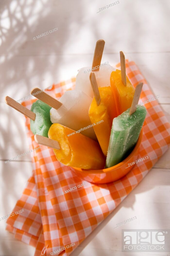 Stock Photo: Cool off in summer with a break at the base of the fruit popsicles.