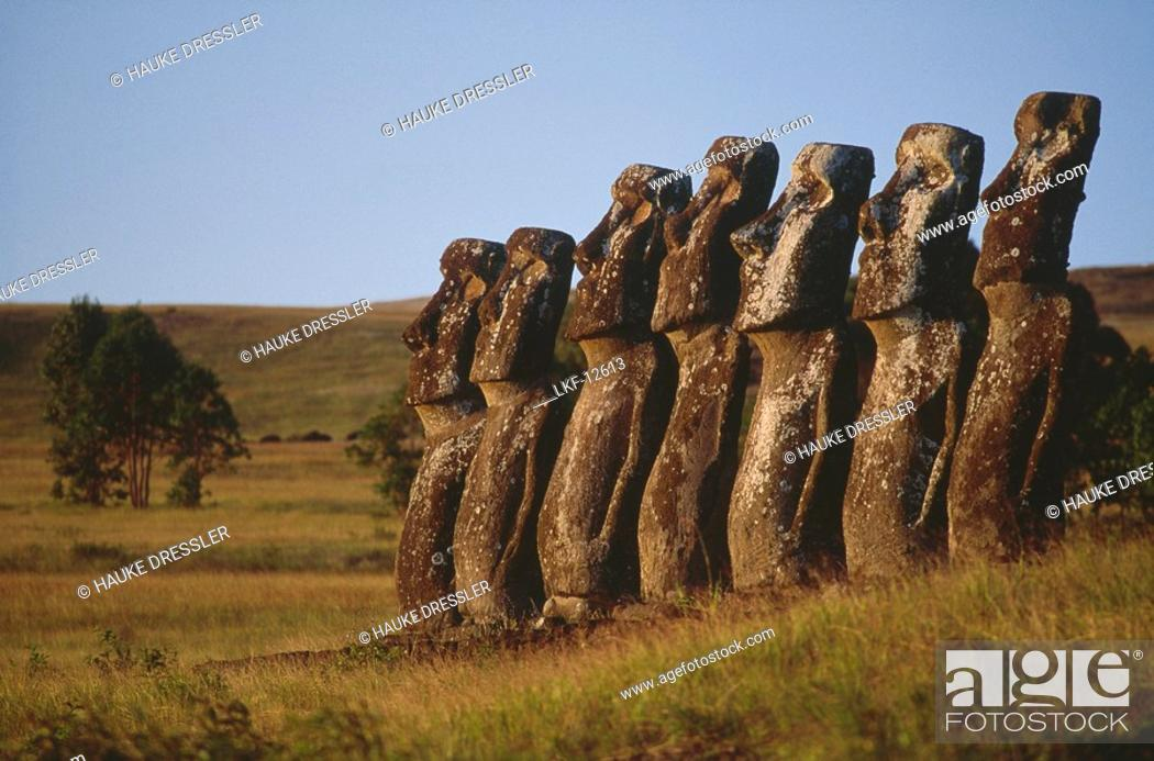 View at weather beaten Moai Statues in a deserted scenery