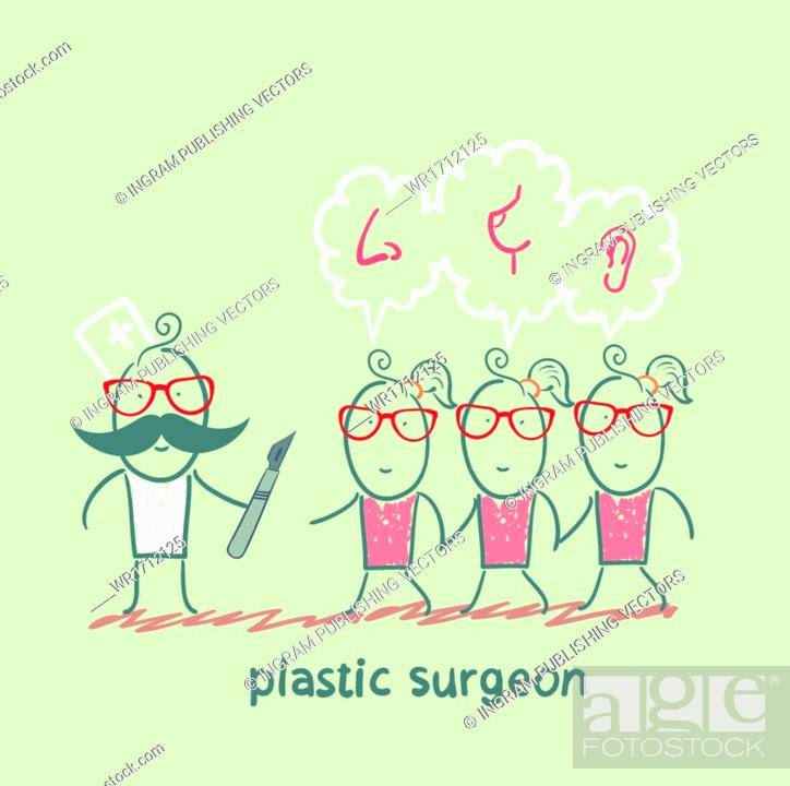 Vector: plastic surgeon patients and listens to their wishes.