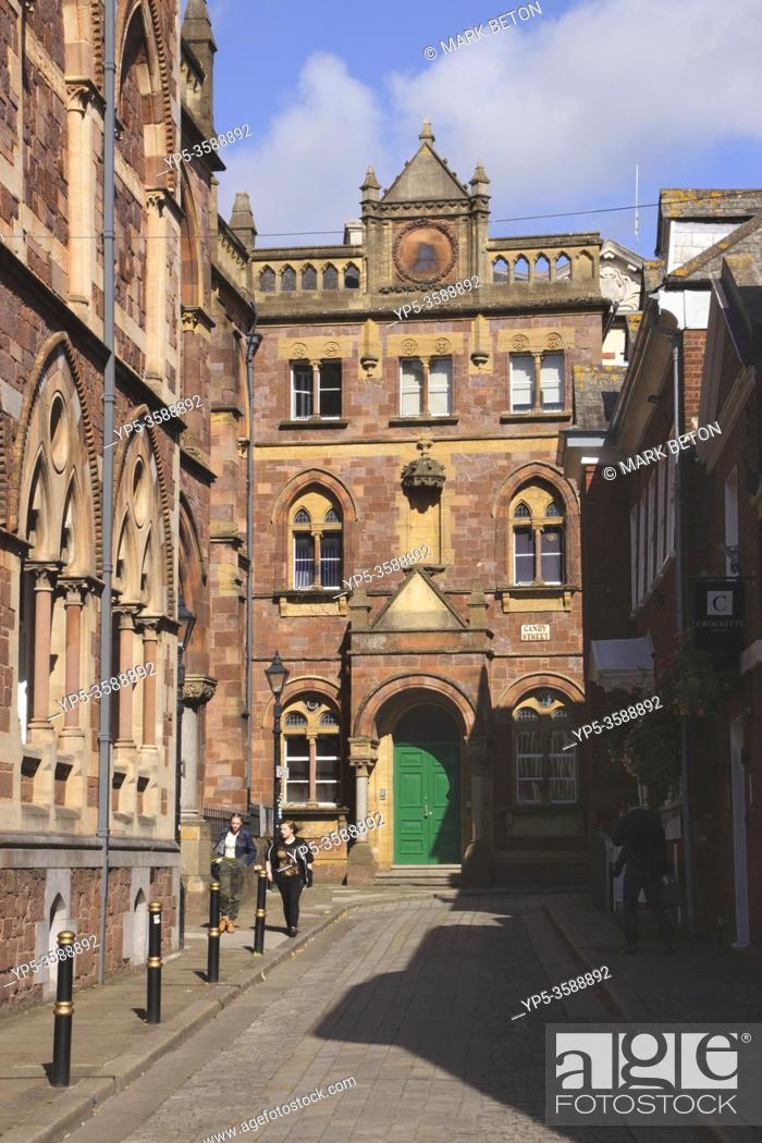 Stock Photo: Upper Paul Street by Royal Albert Memorial Museum Exeter Devon UK.