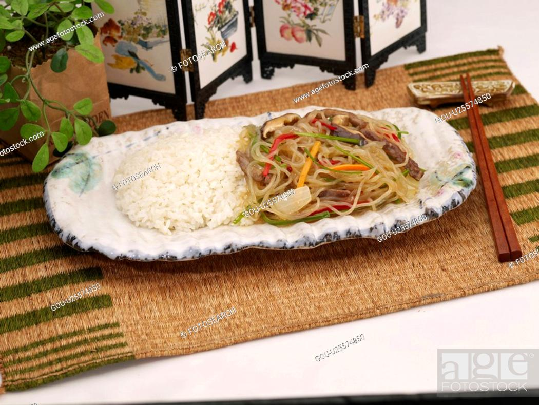 Stock Photo: food, chopsticks, table mat, decoration, food styling, noodle with vegetable.