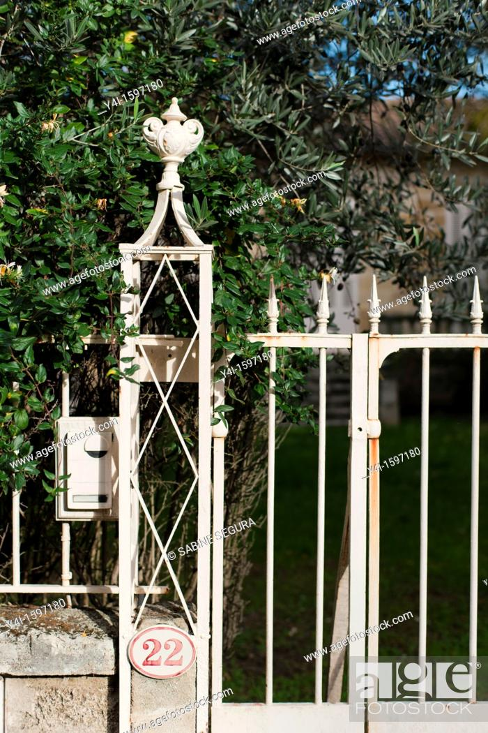 Stock Photo: Fence and pylon of an house in Saint-Émilion  Gironde  Aquitaine France.