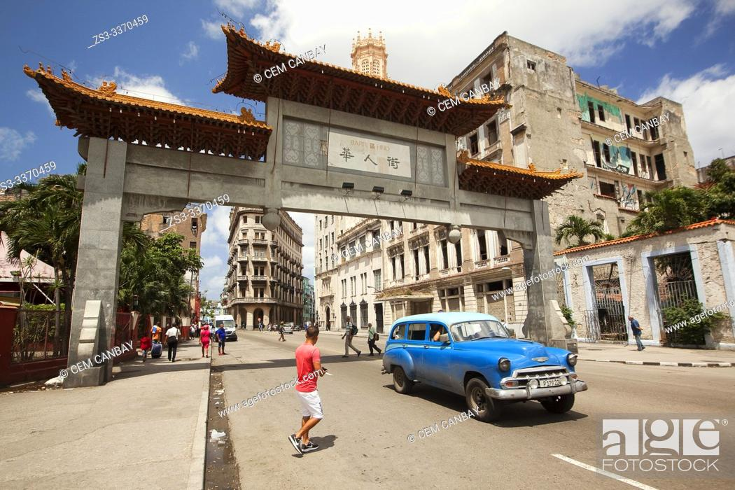 Stock Photo: View to the entrance door of the China town-Barrio Chino in Center Havana, La Habana, Cuba, West Indies, Central America.