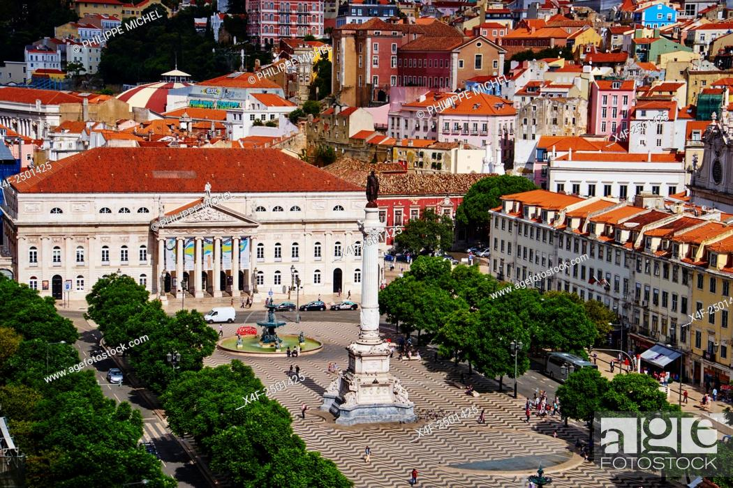 Stock Photo: Portugal, Lisbon, Rossio square or Dom Pedro IV square.