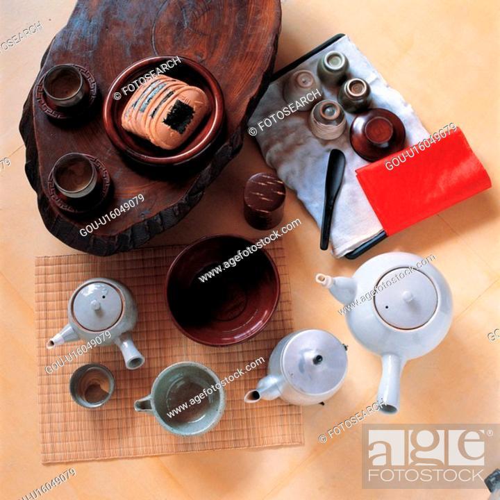 Stock Photo: korea culture, tea, house item, table, tradition, ceramics.