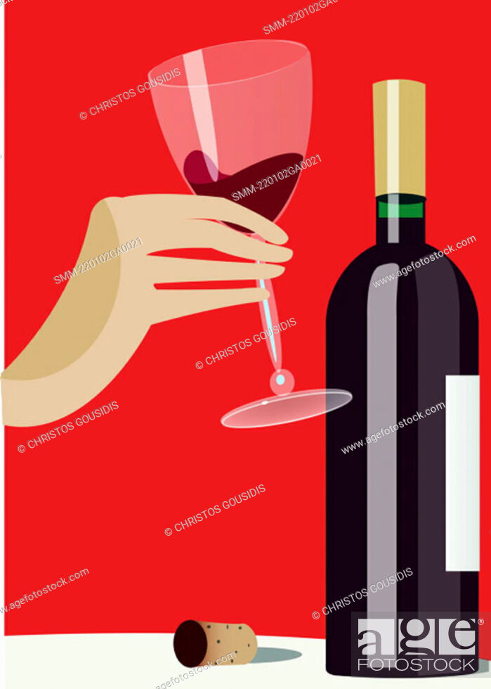 Stock Photo: Tasting a bottle of red wine.