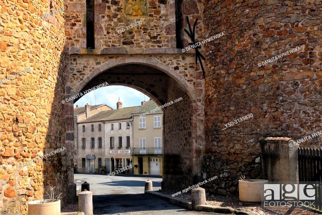 Stock Photo: Town gate, entrance to Montaiguët-en-Forez, Allier department, Auvergne-Rhône-Alpes region, central France, Europe.