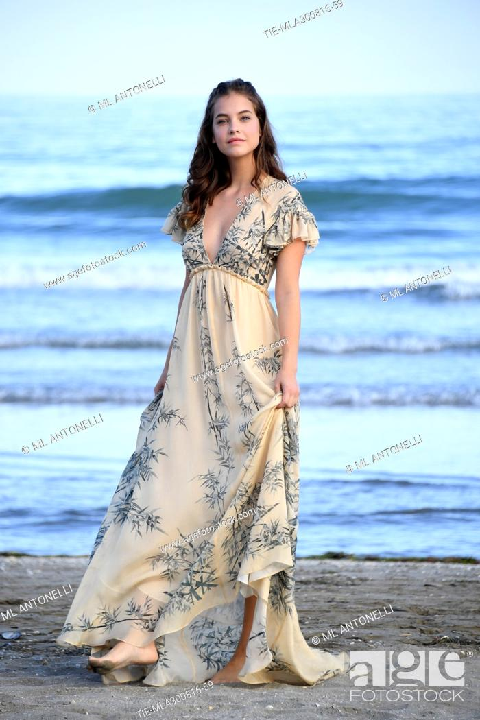 official photos 675b0 0db82 The model Barbara Palvin on the beach of the Lido of Venice ...