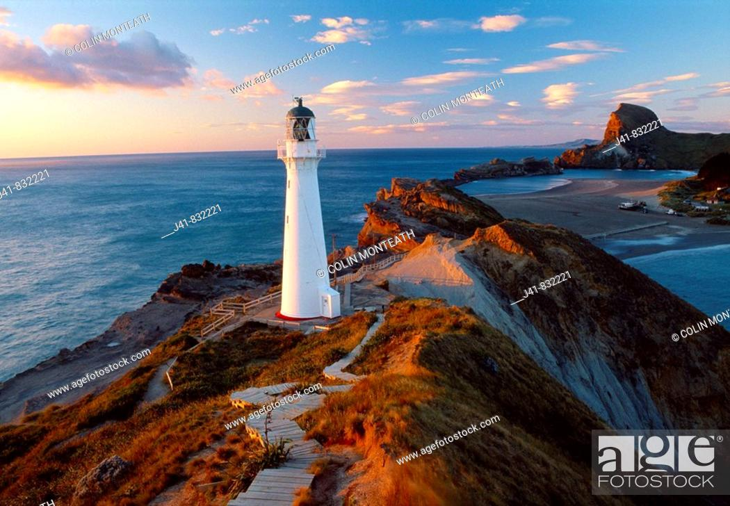 Stock Photo: Castlepoint lighthouse and beach Wairarapa Coast North Island New Zealand.
