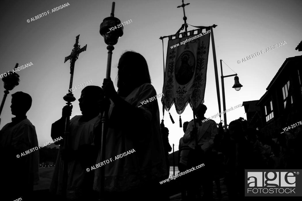 Stock Photo: Procession of Our Lady of Guia in Ribadesella. Asturias. Spain.