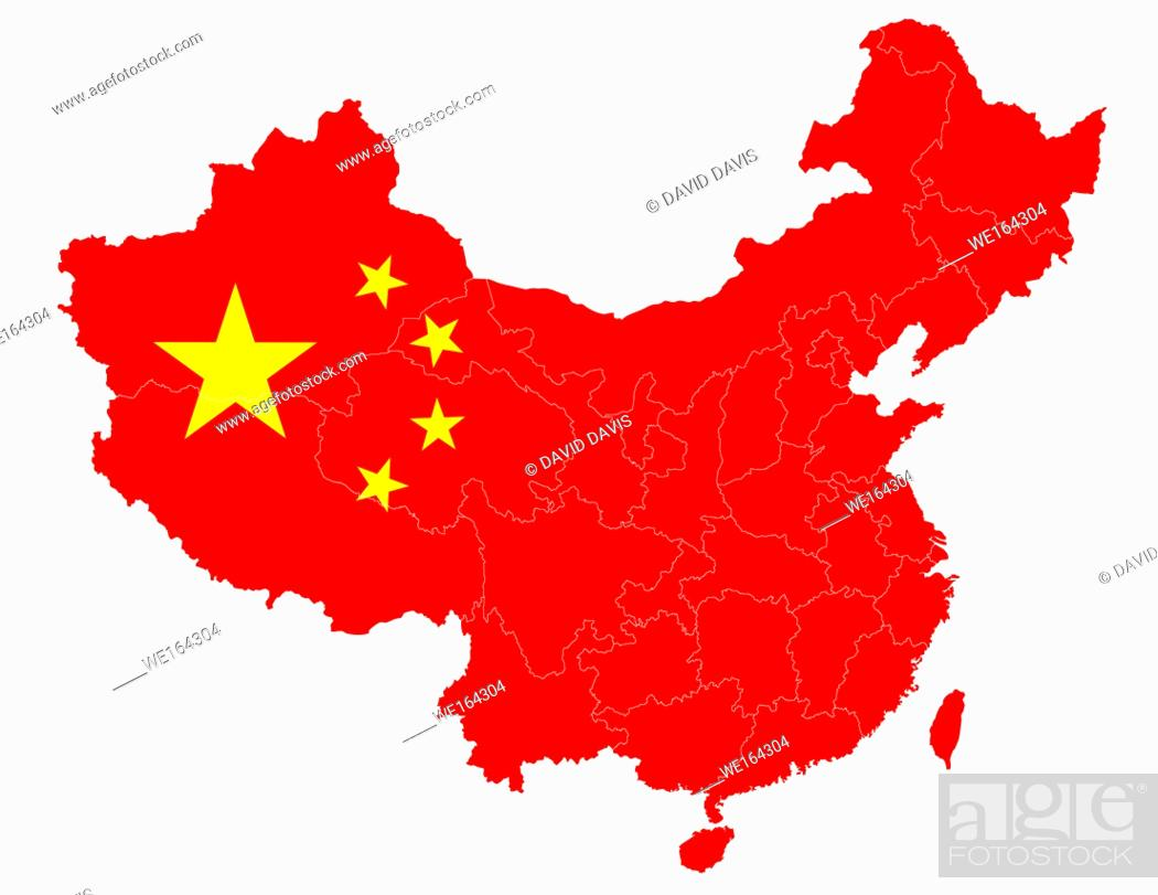 Stock Photo: Map of China with the national flag, showing the provinces, autonomous regions and municipalities, with a clipping path , isolated on a white background.