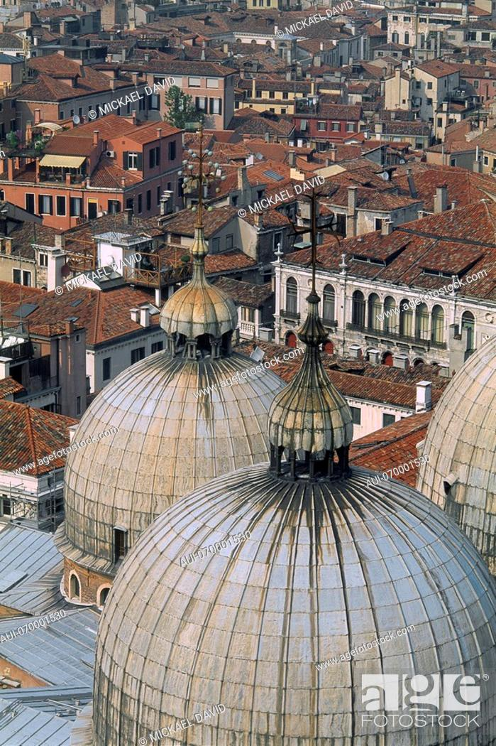 Stock Photo: Italy - Venice - Domes of Saint Mark Basilica - aerial view - old city rooftops.