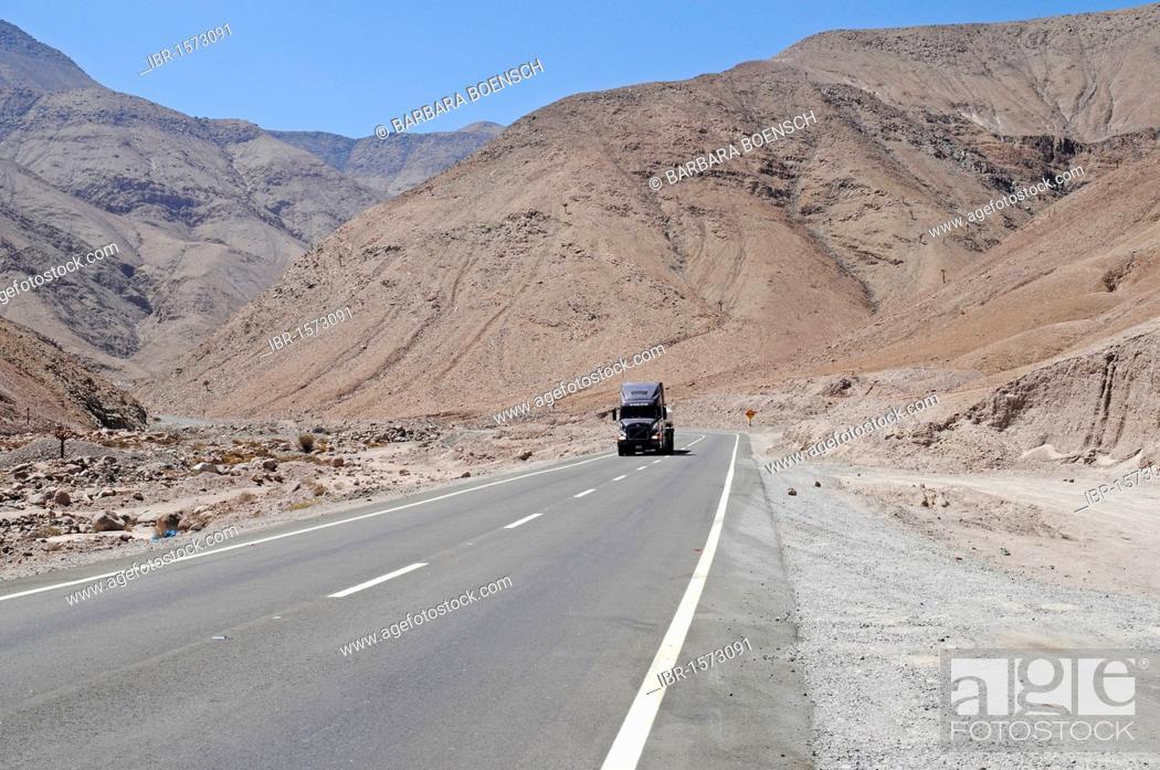 Stock Photo: Truck, lonely road, Atacama desert, desert mountains, Arica, Norte Grande, northern Chile, Chile, South America.
