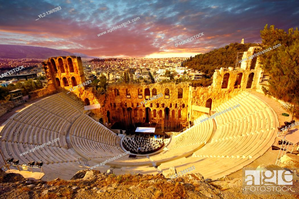 Stock Photo: Odeon of Herodes Atticus, amphitheater on the slopes of the Acropolis, Athens Greece.