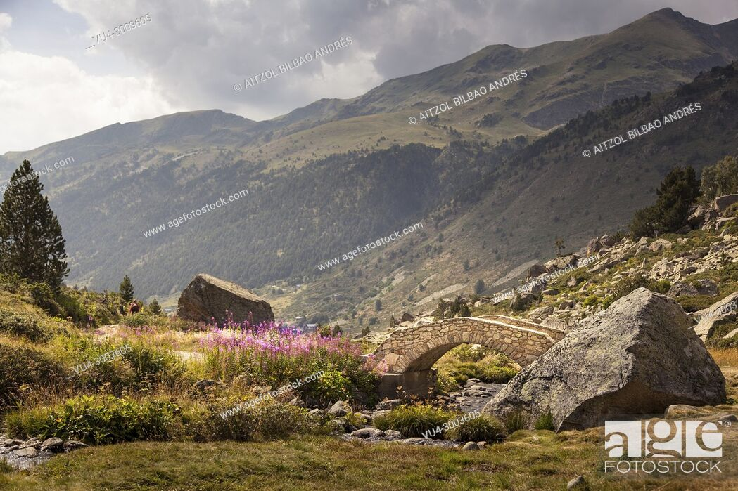 Stock Photo: Andorra is a perfect place for hiking, you cand find beautiful places like this one, Pyrenees.