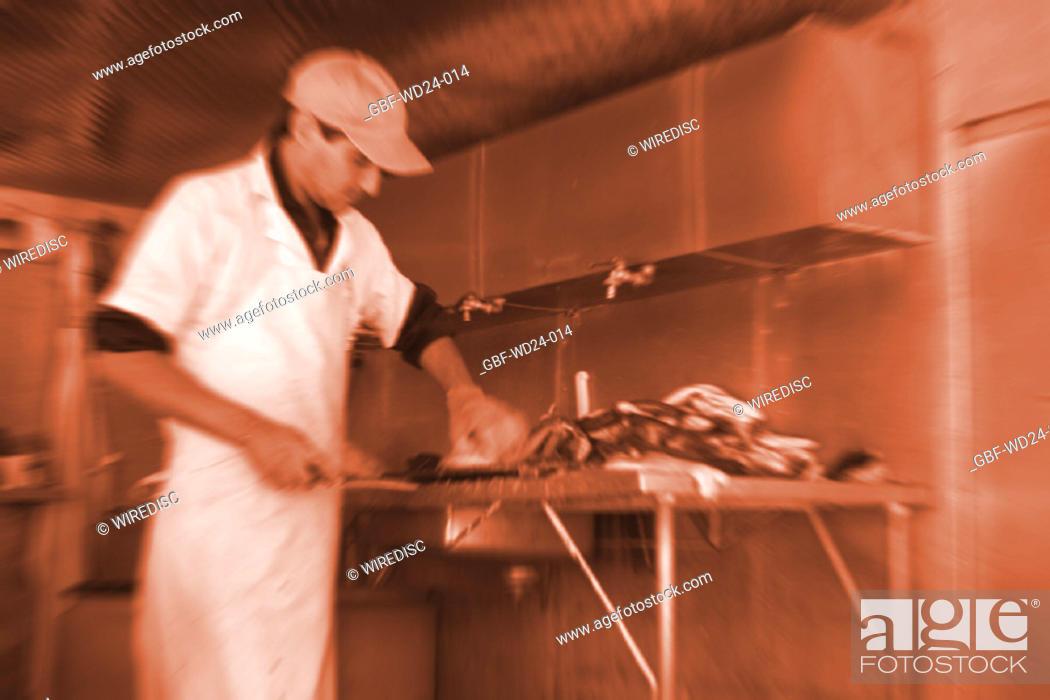 Stock Photo: People, man, fishmonger.