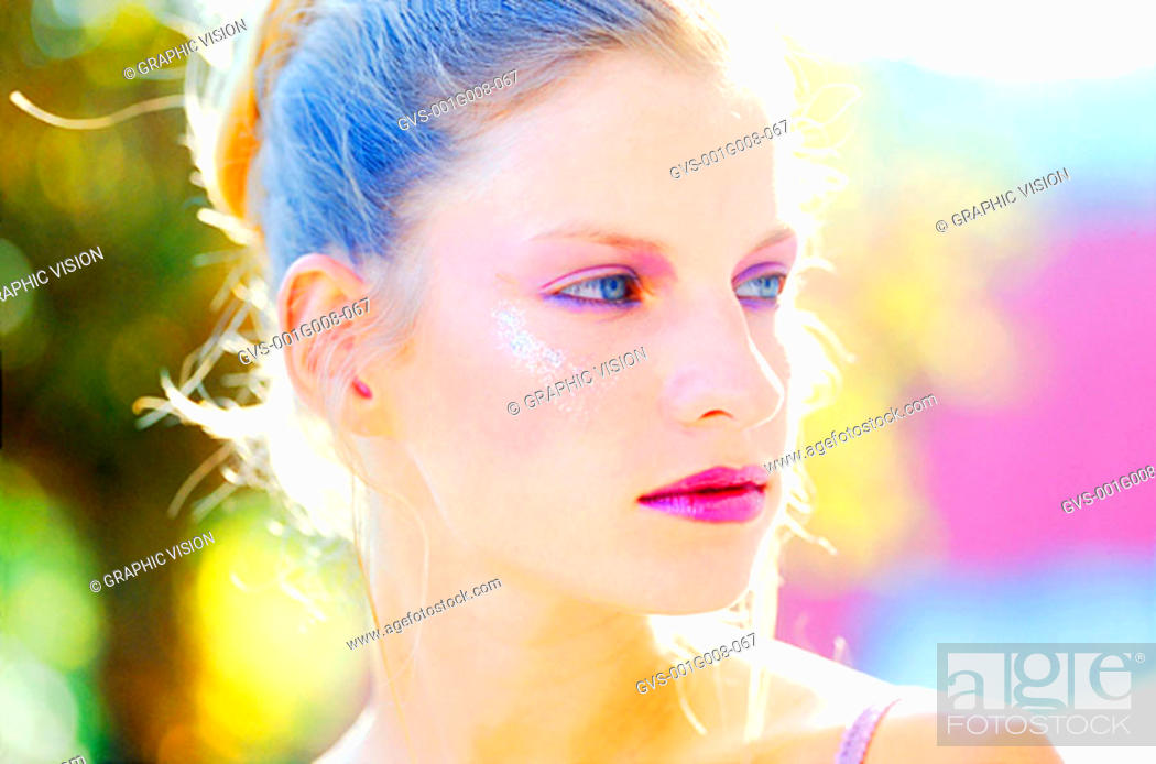 Stock Photo: Close-up of a young woman wearing glittery make up.