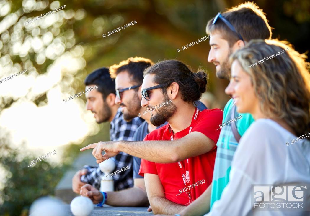 Stock Photo: Group of tourists and guide making a tour of the city, Climb to Mount Urgull, Donostia, San Sebastian, Gipuzkoa, Basque Country, Spain, Europe.